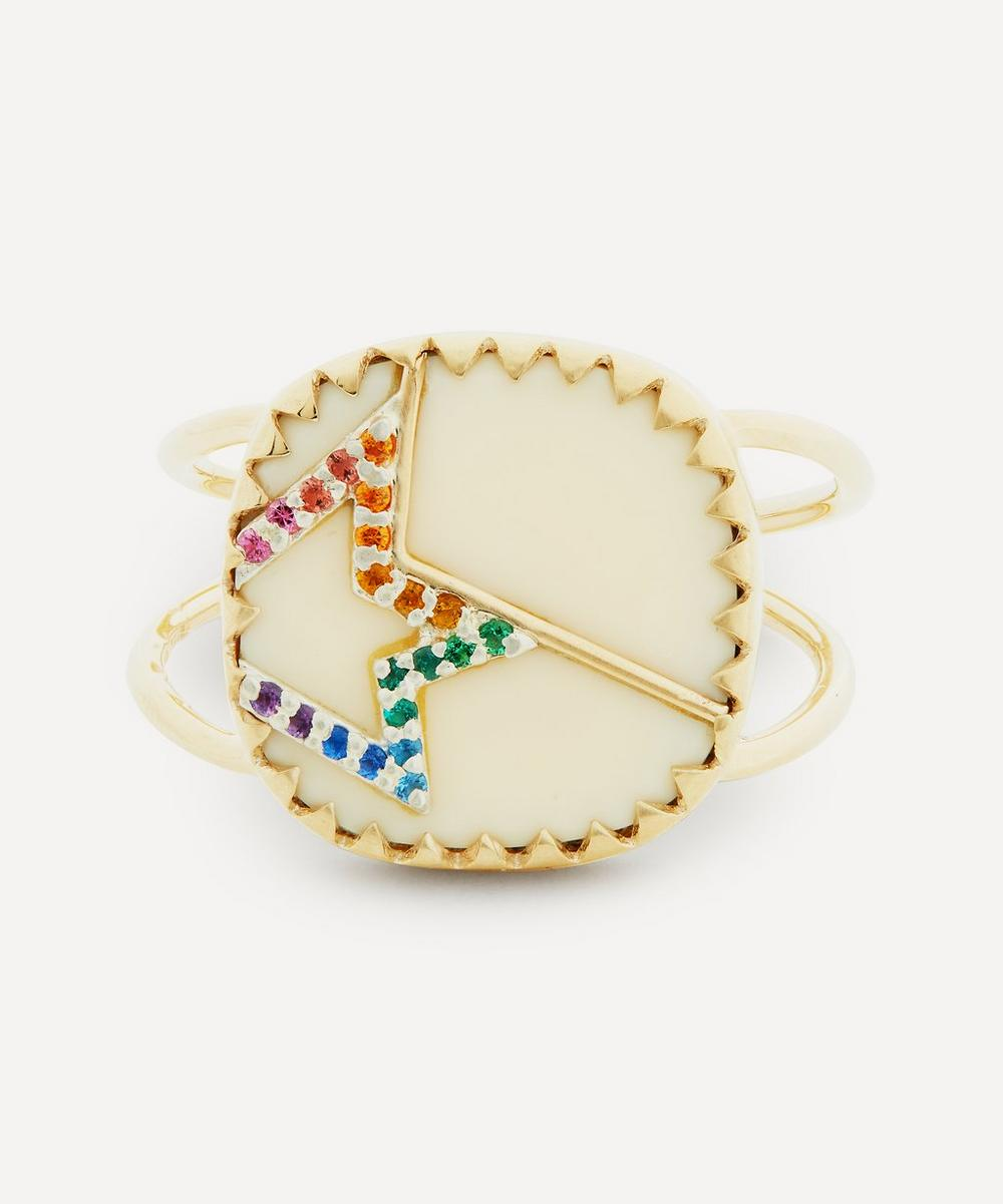 Pascale Monvoisin - Gold Varda N°2 Rainbow Nanogem and Bakelite Ring