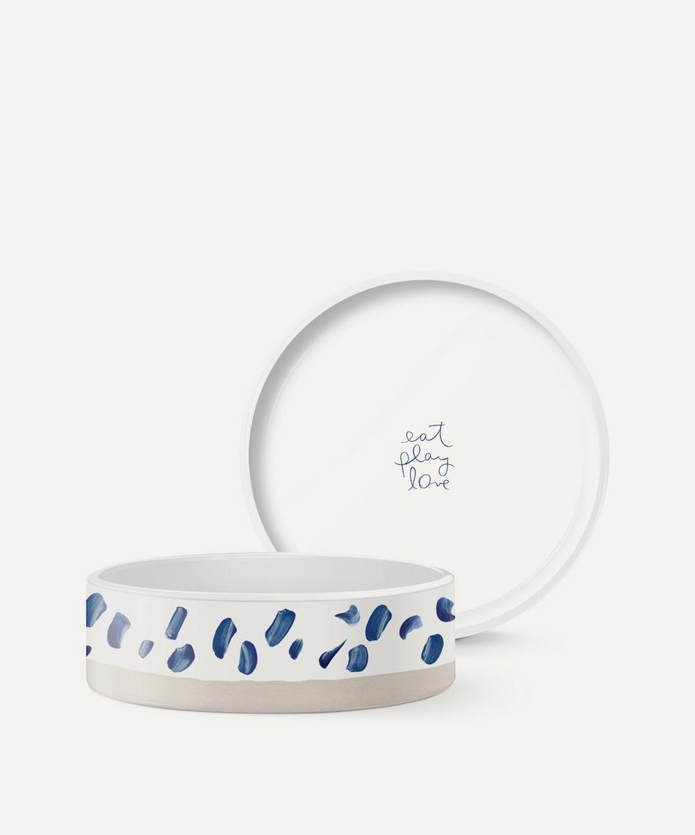 Fringe Studio - Medium Blue Dash Ceramic Dog Bowl