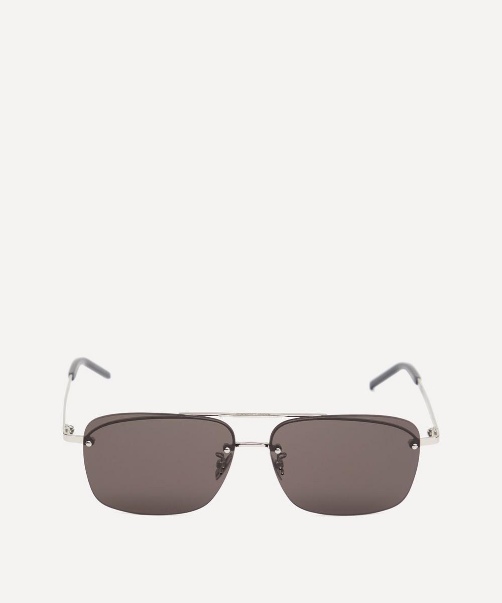 Saint Laurent - Square Double Bridge Metal Sunglasses