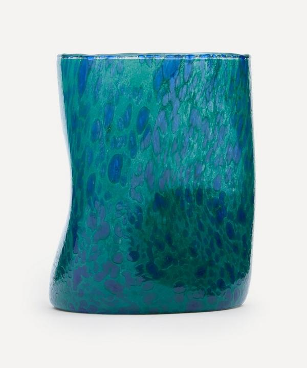 by alice - Green Base Blue Splatter Glass