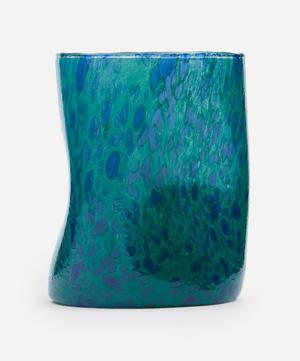 Green Base Blue Splatter Glass