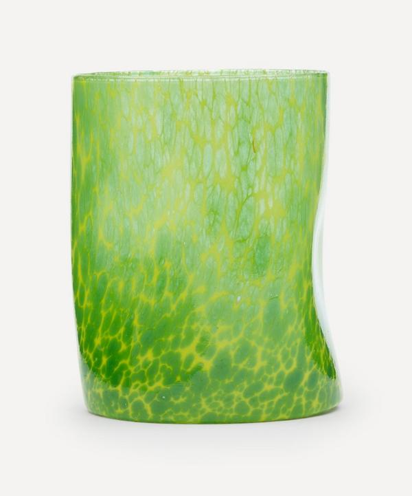 by alice - Yellow Base Green Splatter Glass