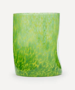 Yellow Base Green Splatter Glass