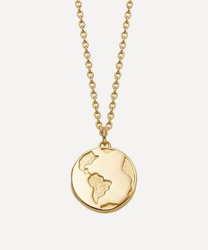 Gold Plated Vermeil Silver Biography Earth Locket Necklace