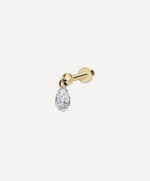 Floating Pear Diamond Charm Threaded Stud Earring