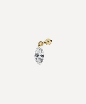 Floating Marquise Diamond Charm Threaded Stud Earring