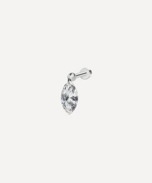 Floating Marquise Diamond Charm Threaded Stud Earring