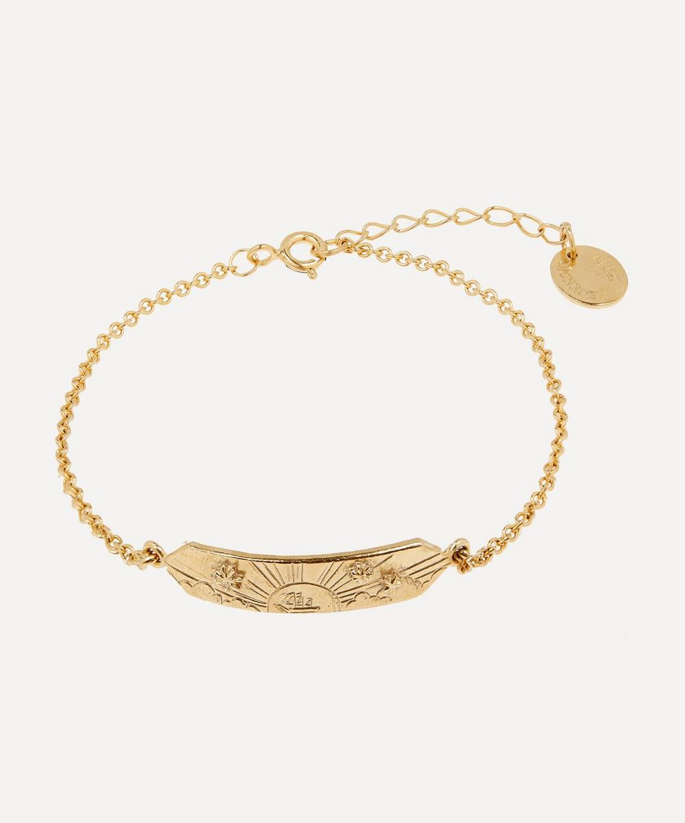Alex Monroe - Gold-Plated Sail into the Sunset Engraved ID Bracelet