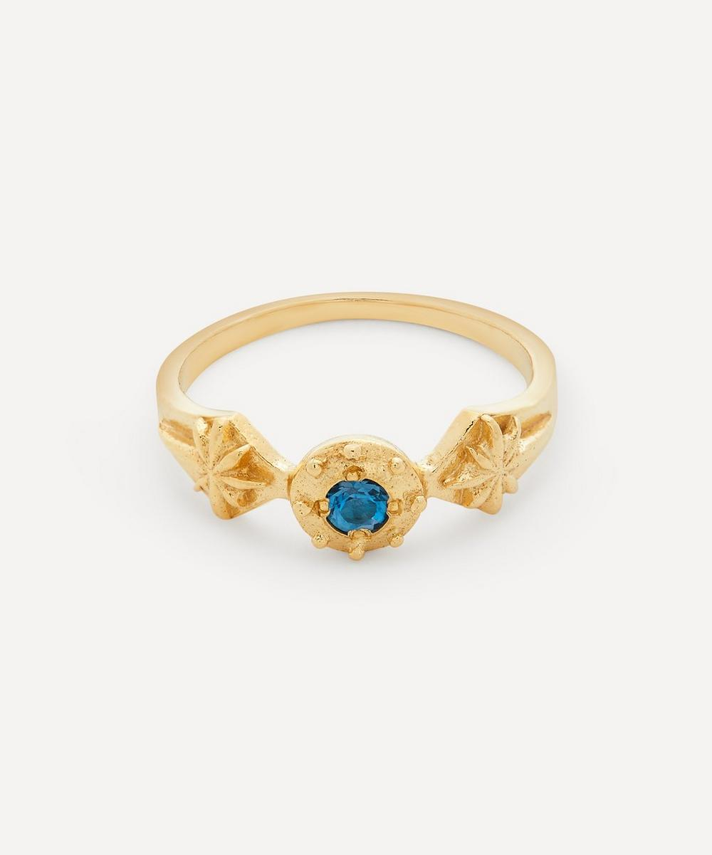 Alex Monroe - Gold-Plated Guiding Star London Blue Topaz Ring