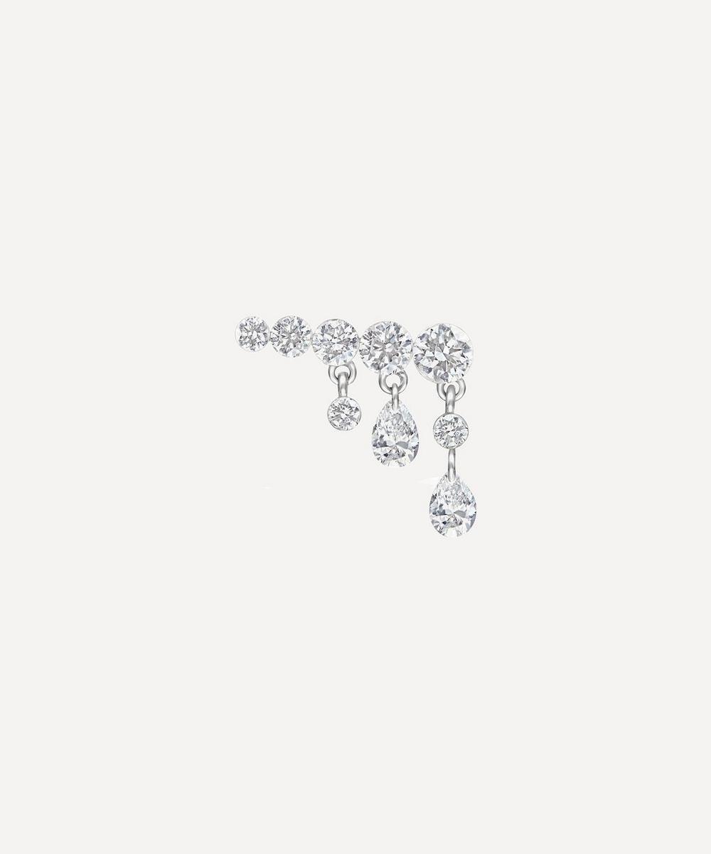 Maria Tash - 11mm Crescendo Bar Invisible Set Diamond Stud Earring Left