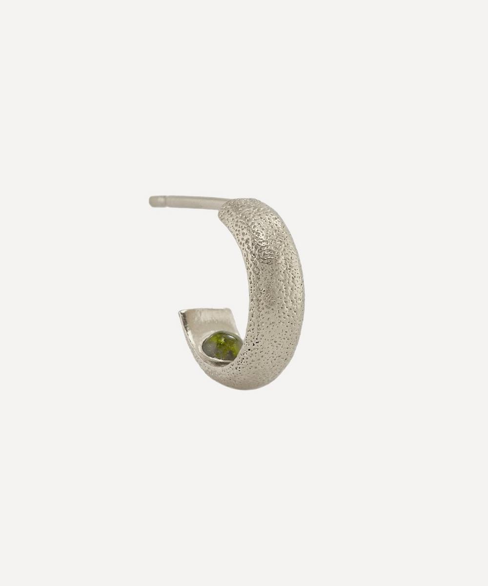 Alex Monroe - x Raven Smith Silver Hans Hidden Green Tourmaline Hoop Earring