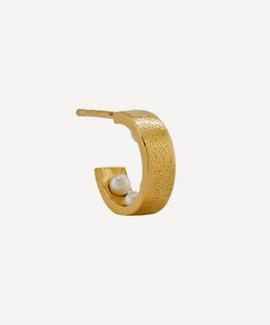 x Raven Smith Gold-Plated Kruez Hidden Pearls Hoop Earring