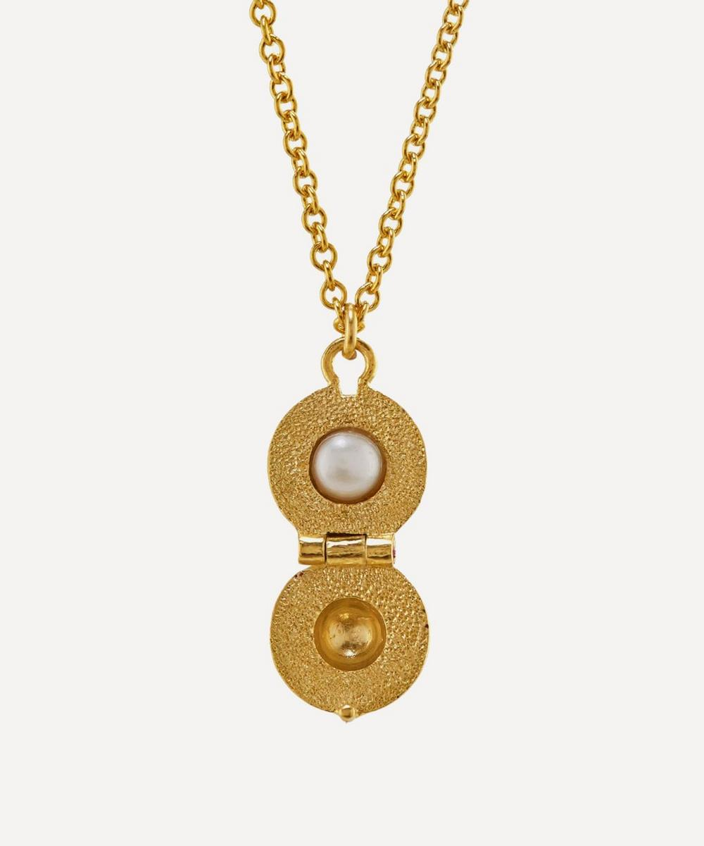 Alex Monroe - x Raven Smith Gold-Plated Cannonball Hidden Pearl Pendant Necklace
