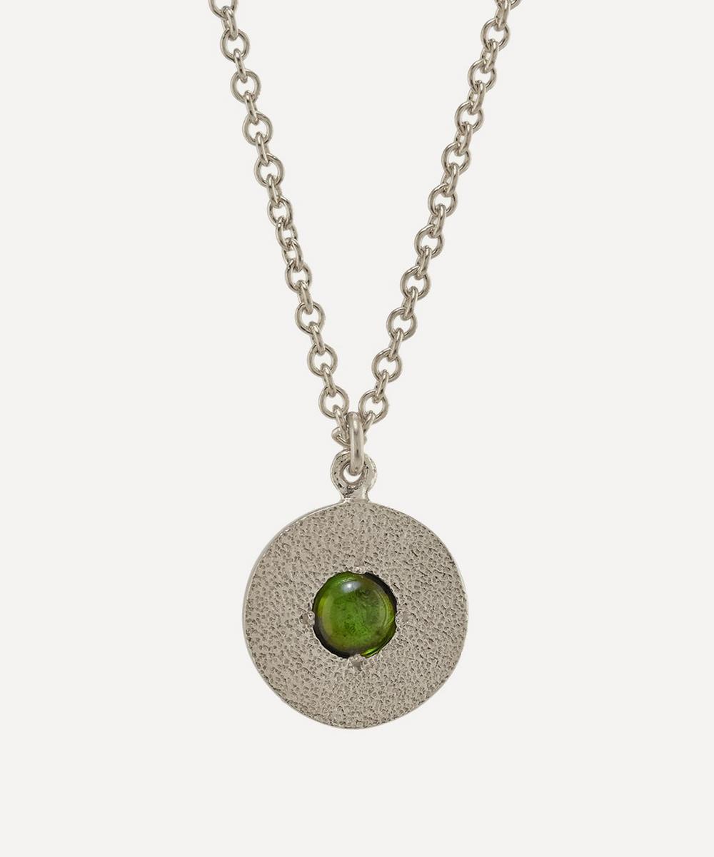 Alex Monroe - x Raven Smith Silver Iris Reversible Green Tourmaline Disc Pendant Necklace