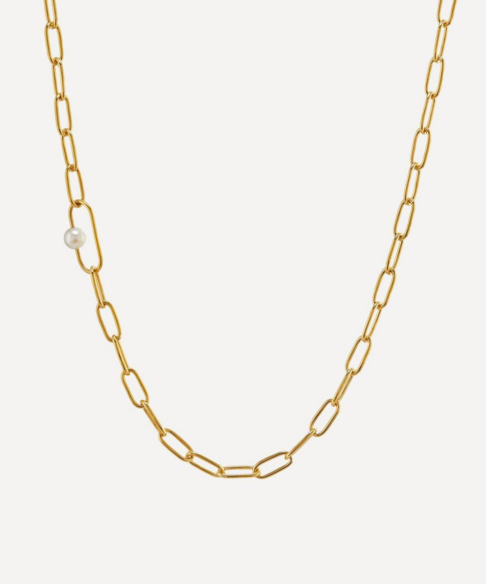 Alex Monroe - x Raven Smith Gold-Plated Pea Large Link Pearl Necklace