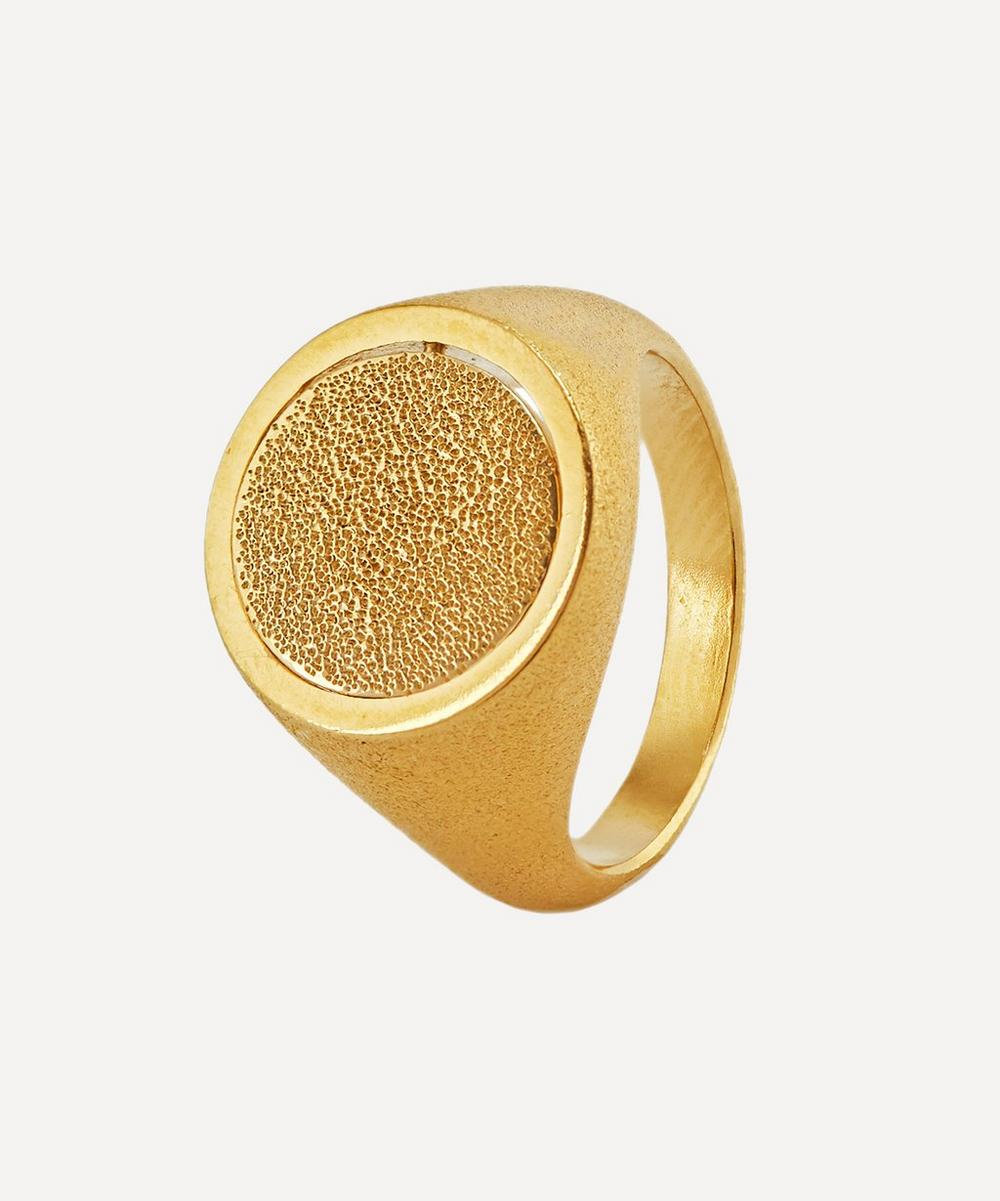 Alex Monroe - x Raven Smith Gold-Plated Medi Spinning Dome Signet Ring