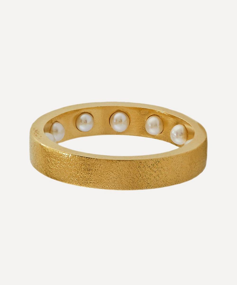 Alex Monroe - x Raven Smith Gold-Plated Kruez Hidden Pearls Ring