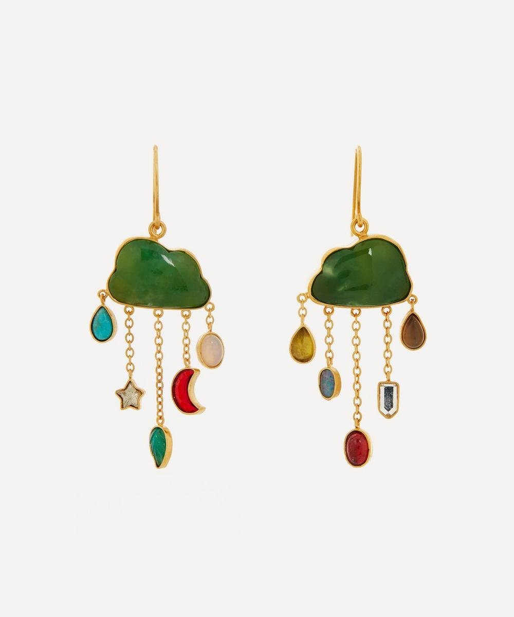 Grainne Morton - Gold-Plated Cloud and Rain Asymmetric Multi-Stone Chain Drop Earrings