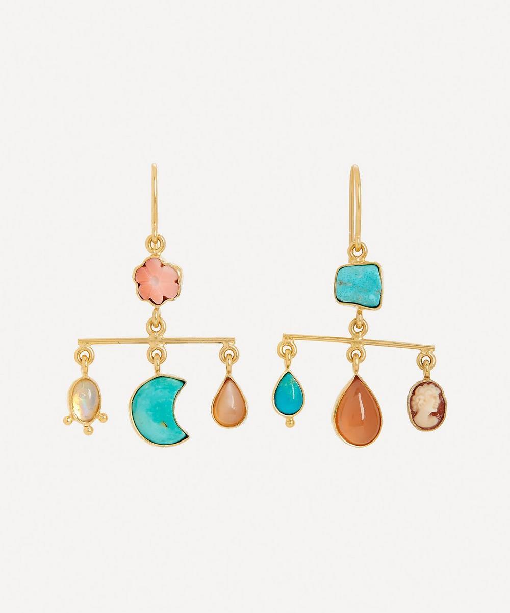 Grainne Morton - Gold-Plated Balance Asymmetric Multi-Stone Drop Earrings