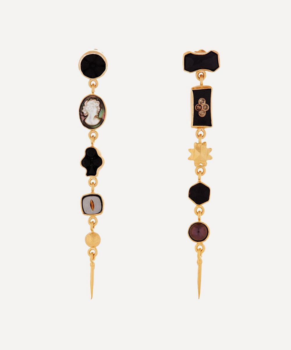 Grainne Morton - Gold-Plated Asymmetric Five Charm Victorian Drop Earrings