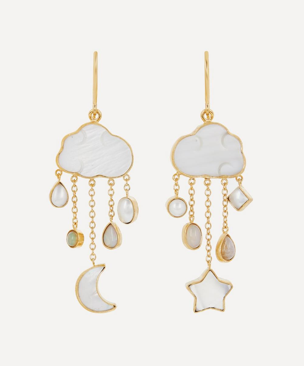 Grainne Morton - Gold-Plated Cloud and Rain Asymmetric Multi-Stone Chain Drop Earrings