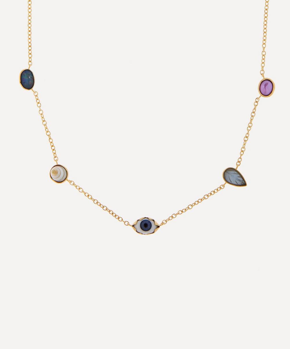 Grainne Morton - Gold-Plated Multi-Stone Five Mini Charm Necklace