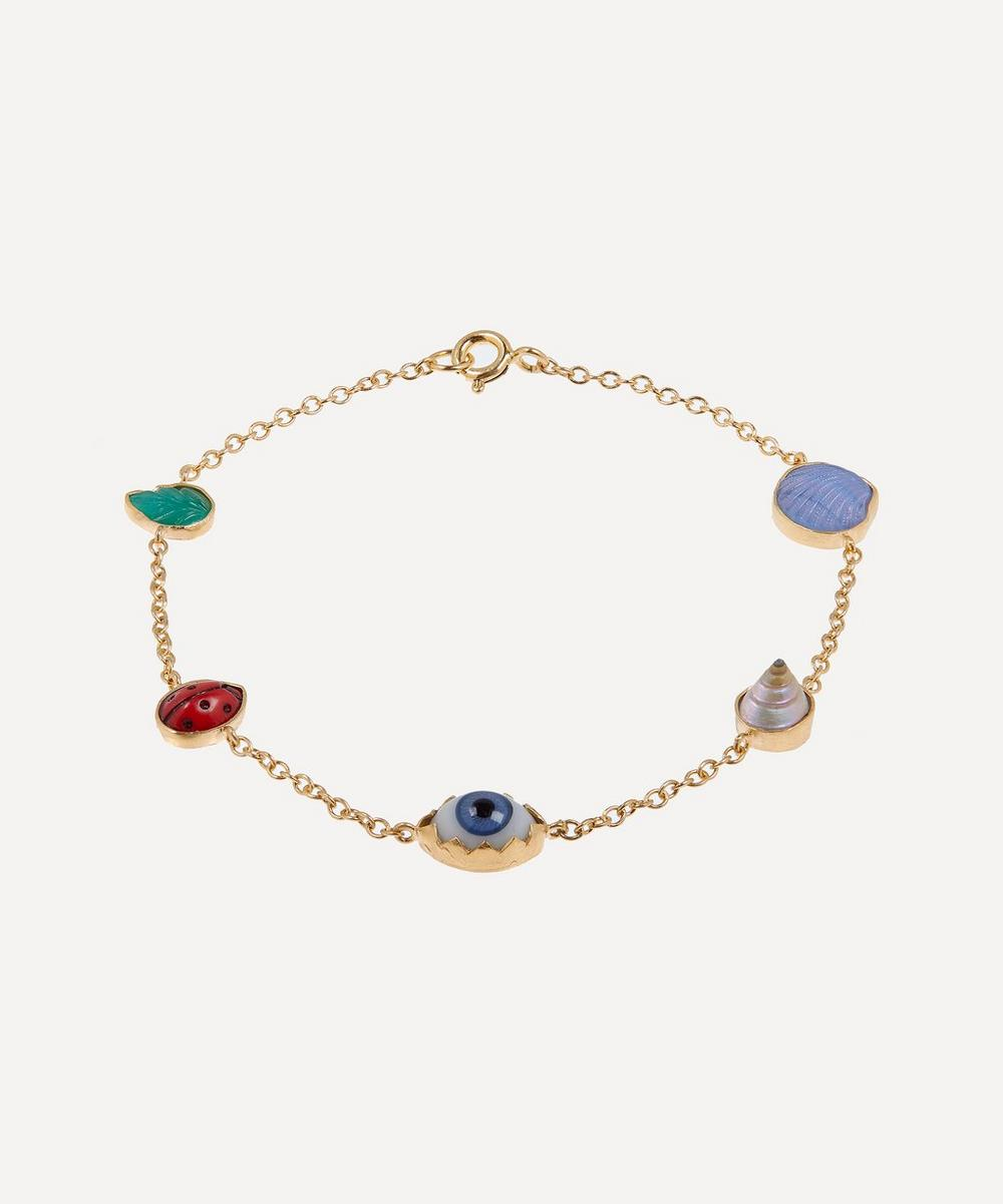 Grainne Morton - Gold-Plated Multi-Stone Five Mini Charm Bracelet