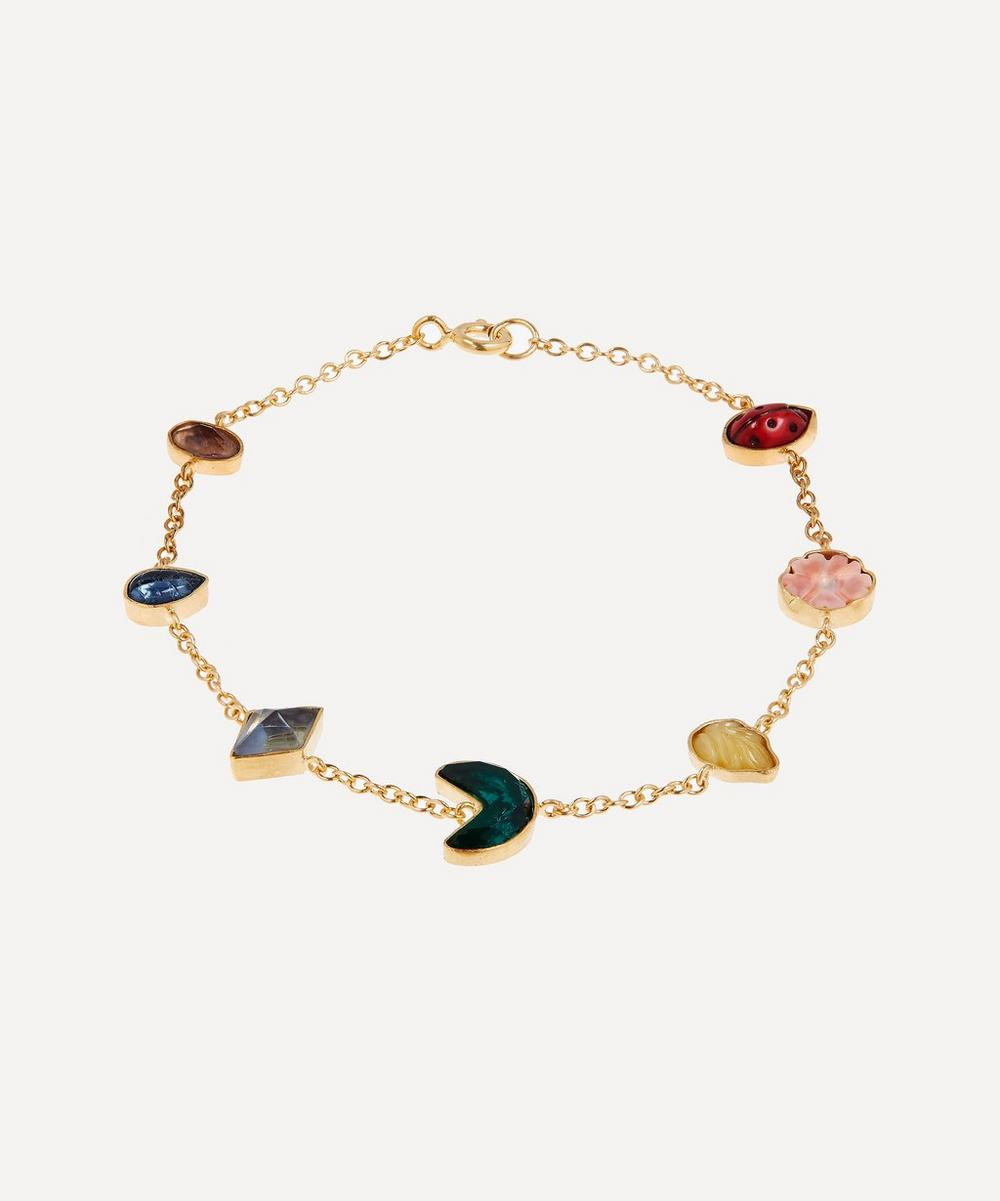 Grainne Morton - Gold-Plated Multi-Stone Rainbow Mini Charm Bracelet