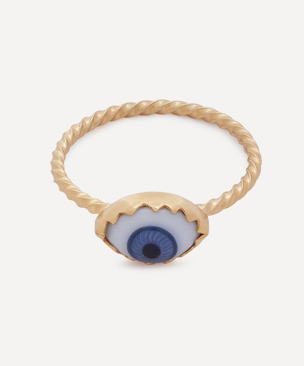 Grainne Morton - Gold-Plated Antique Glass Eye Ring