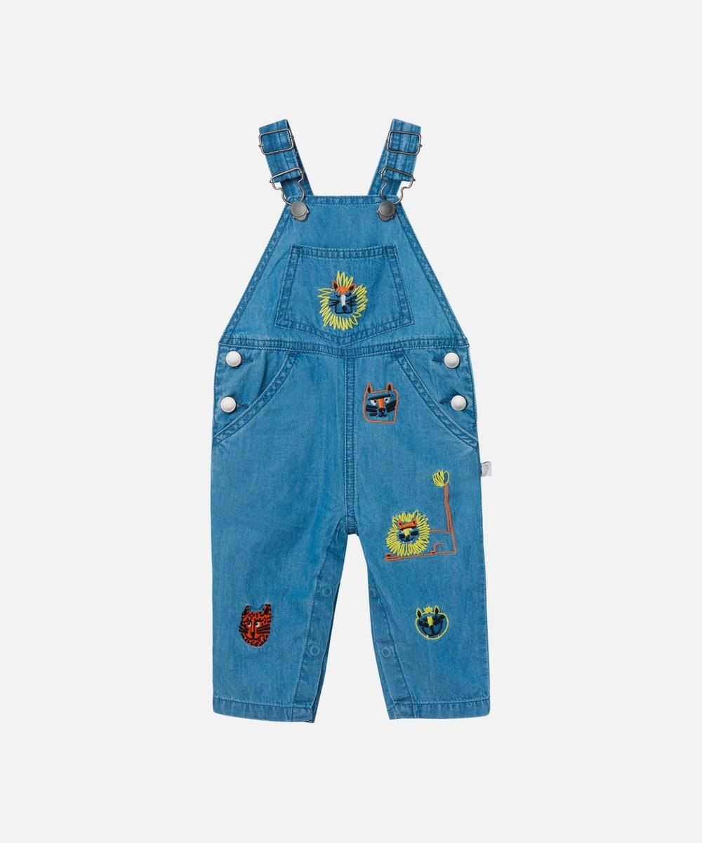 Stella McCartney Kids - Wild Cats Embroidered Chambray Dungarees 3 Months-3 Years
