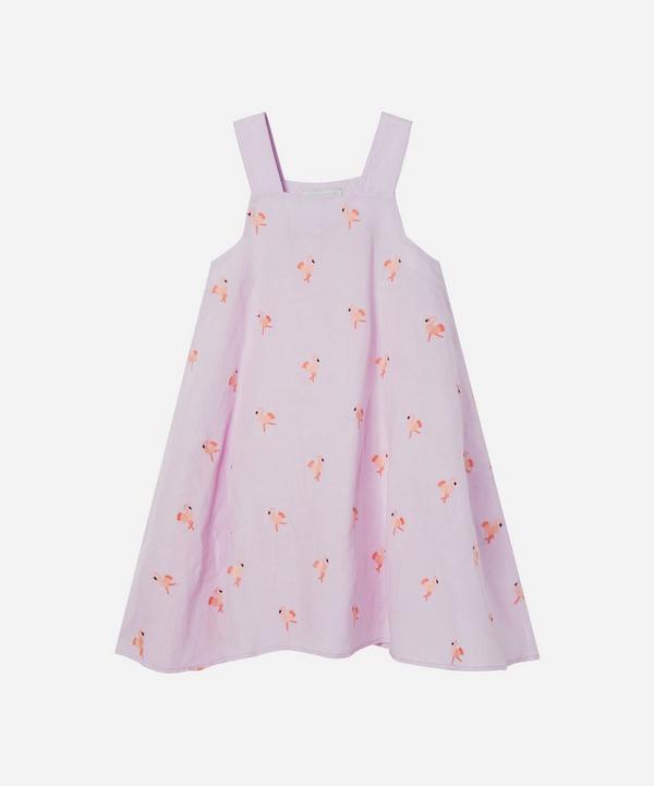 Stella McCartney Kids - Flamingo Embroidered Linen Dress 2-8 Years