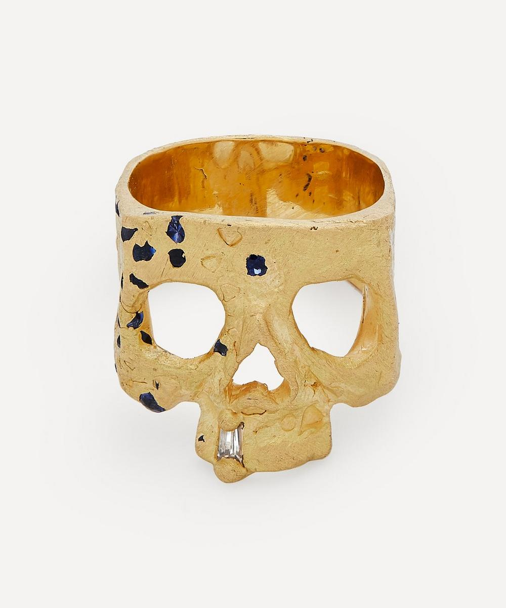 Polly Wales - Gold Blue Sapphire and Diamond Confetti Skull Ring