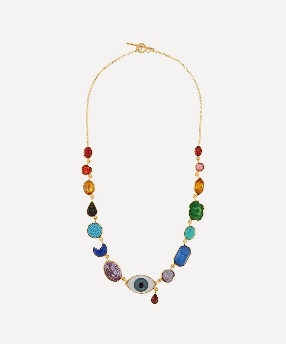 Grainne Morton - Gold-Plated Rainbow Eye Teardrop Multi-Stone Charm Necklace