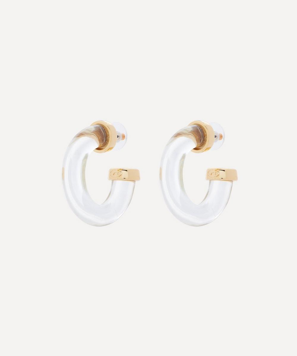 Kenneth Jay Lane - Gold-Plated Clear Resin Hoop Earrings