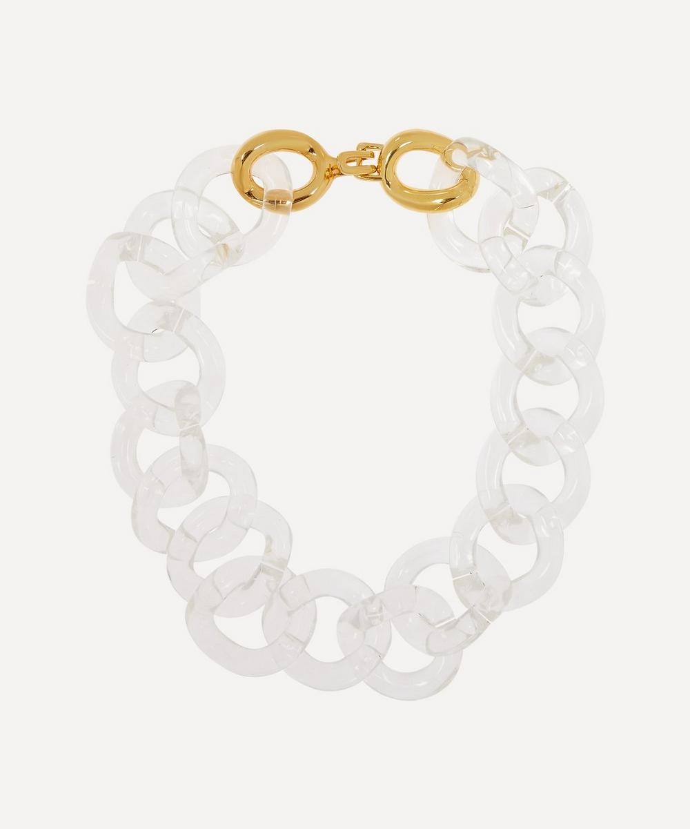Kenneth Jay Lane - Gold-Plated Clear Resin Link Necklace