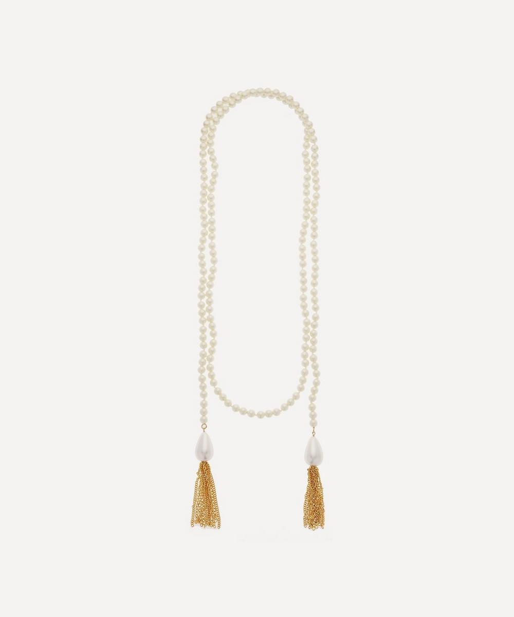 Kenneth Jay Lane - Long Pearl Tassel Wrap Necklace