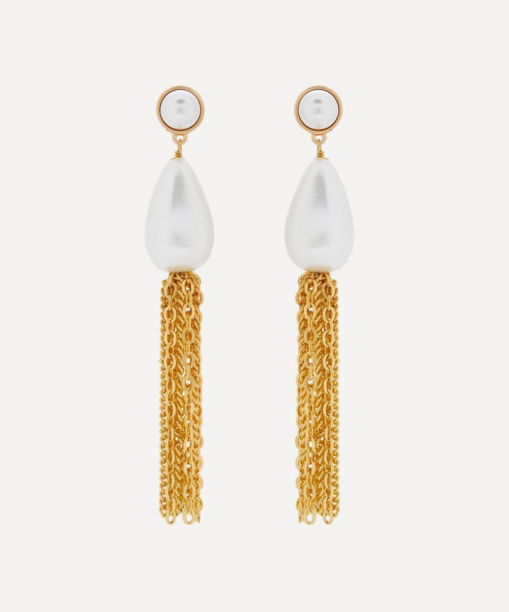 Kenneth Jay Lane - Gold-Plated Pearl Tassel Drop Earrings