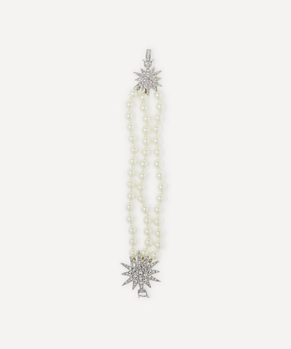 Kenneth Jay Lane - Rhodium-Plated Crystal Star Three-Strand Pearl Bracelet