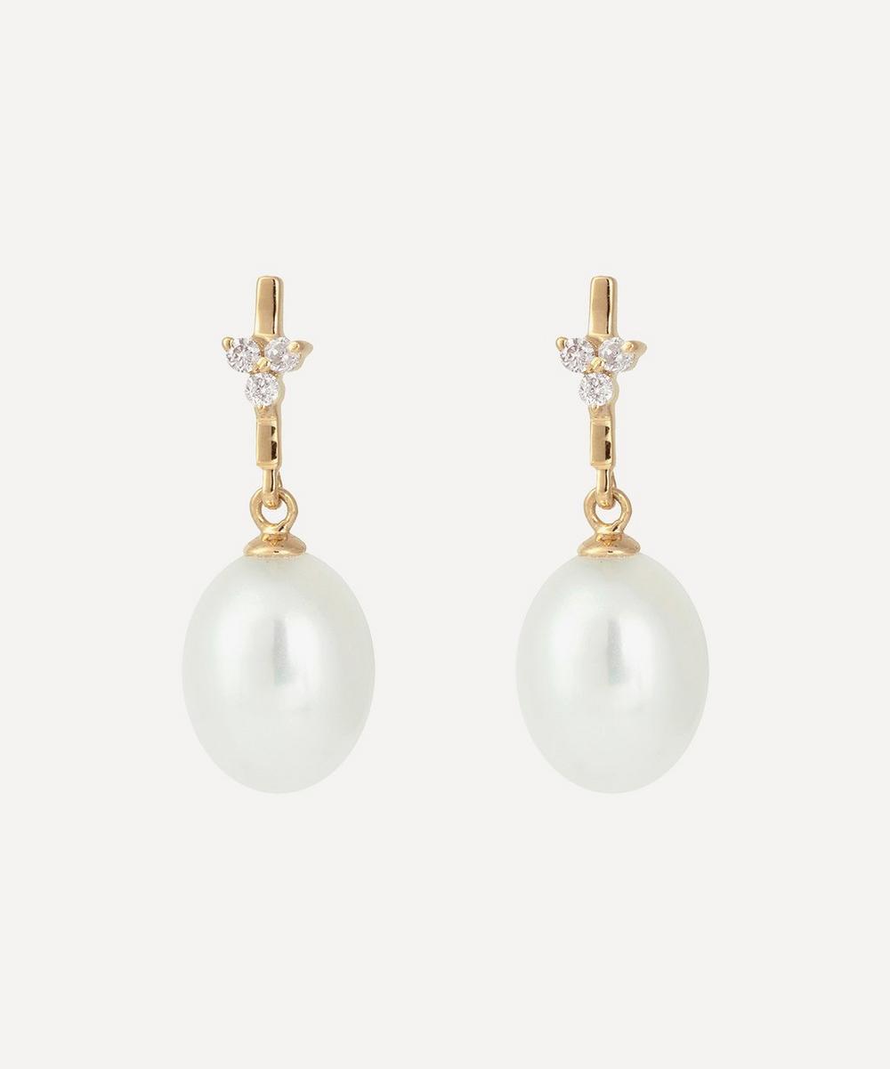 Kojis - Gold Diamond Trefoil and Pearl Drop Earrings