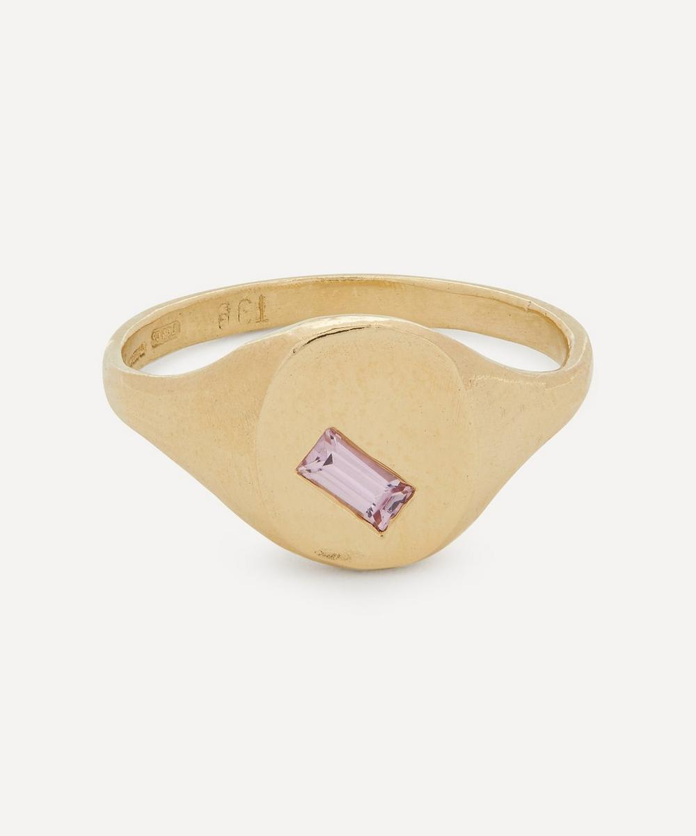Seb Brown - Gold Baguette Pink Sapphire Signet Ring