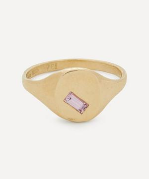 Gold Baguette Pink Sapphire Signet Ring
