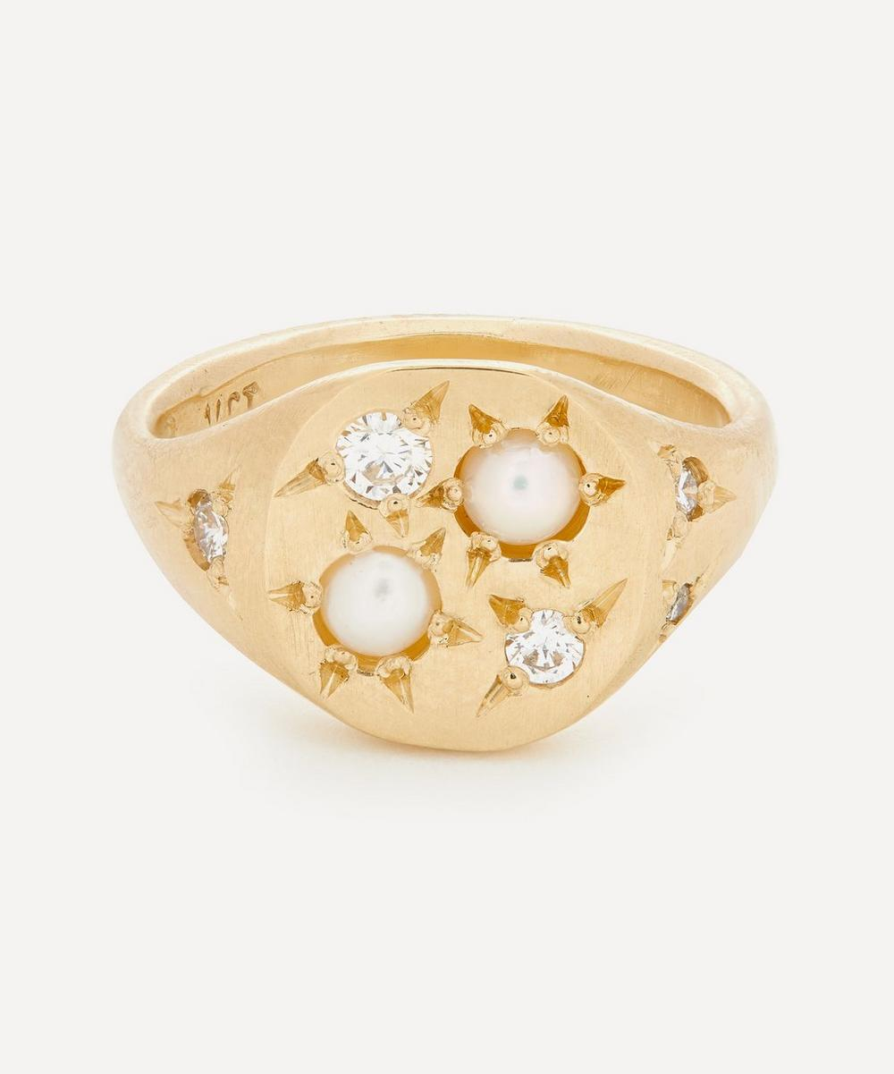 Seb Brown - Gold Prince Diamond and Pearl Signet Ring