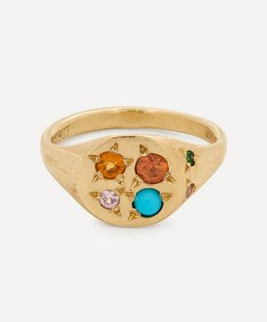 Gold Fire Multi-Stone Signet Ring
