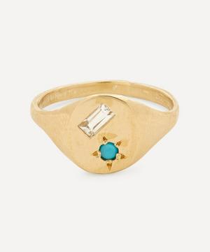 Gold Ocean Turquoise and White Sapphire Signet Ring
