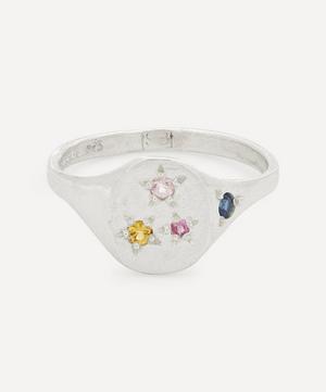 Silver Tiny Neapolitan Multi-Stone Signet Ring