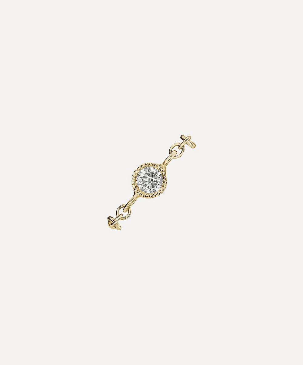 Maria Tash - 2mm Diamond and Chain Orbital Double Stud Earring