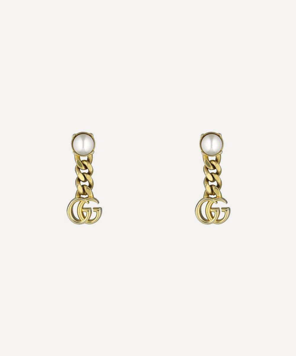 Gucci - Gold-Tone Faux Pearl Double G Drop Earrings