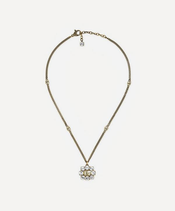 Gucci - Gold-Tone Crystal Double G Pendant Necklace