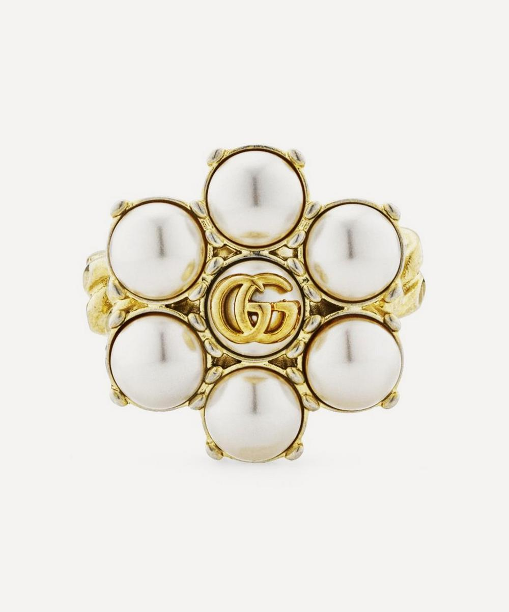 Gucci - Gold-Tone Faux Pearl Double G Cocktail Ring