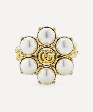 Gold-Tone Faux Pearl Double G Cocktail Ring